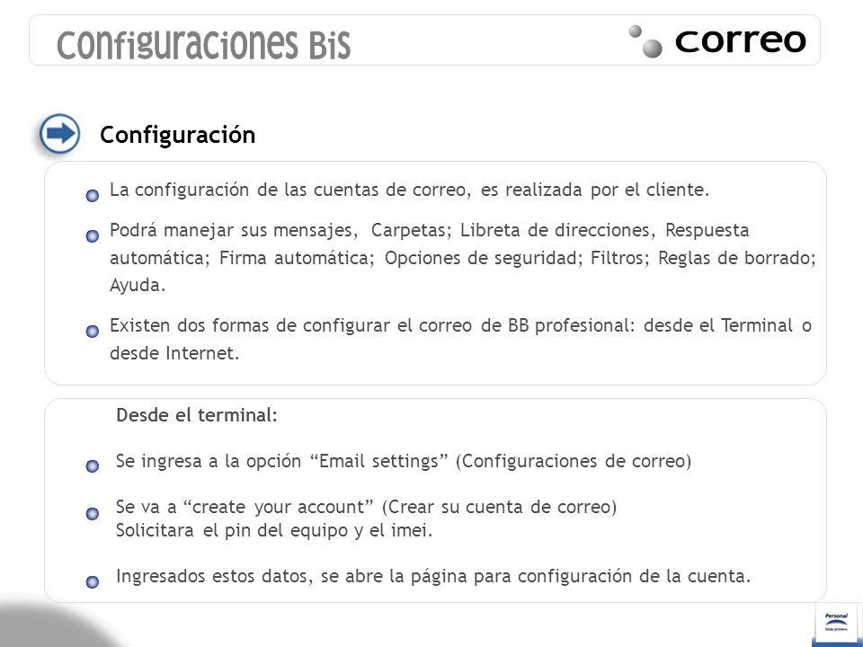 Configuraciones Bis Correo Configuración