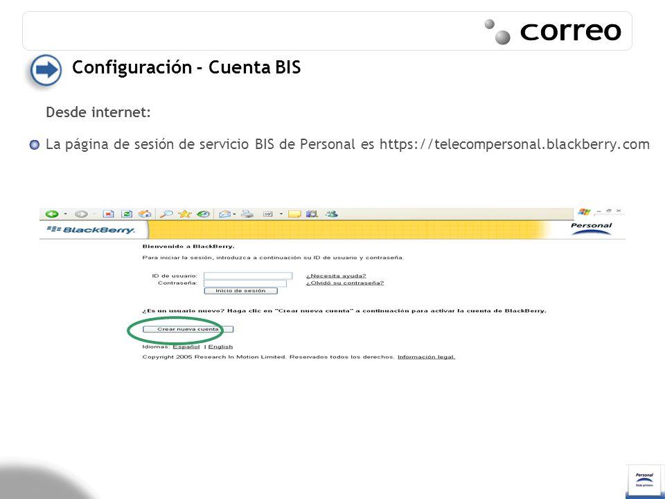 Correo Configuración - Cuenta BIS Desde internet: