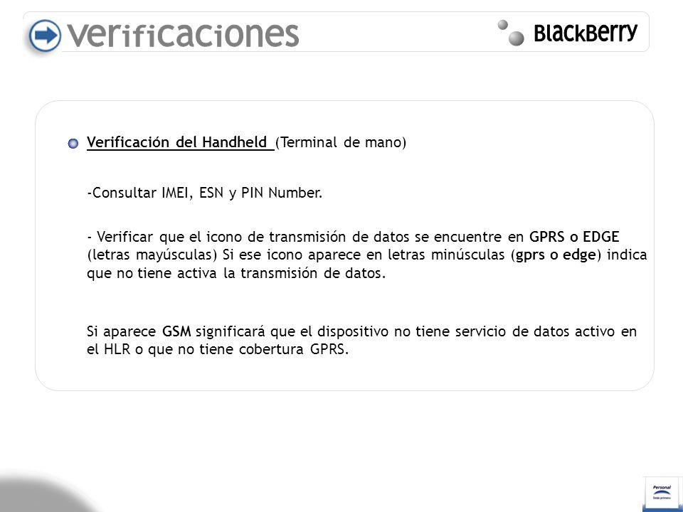 Verificaciones BlackBerry Verificación del Handheld (Terminal de mano)