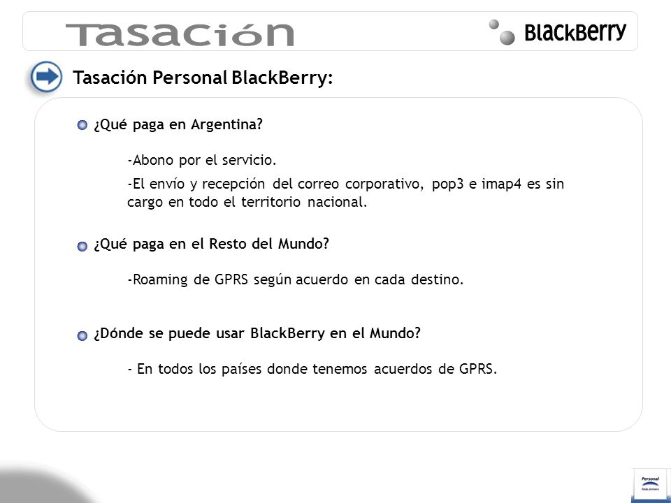 Tasación BlackBerry Tasación Personal BlackBerry: