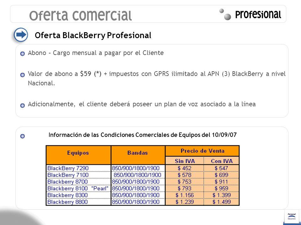Oferta comercial Profesional Oferta BlackBerry Profesional