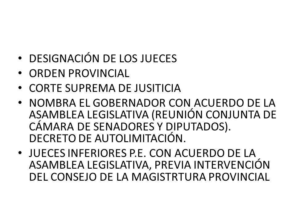 DESIGNACIÓN DE LOS JUECES