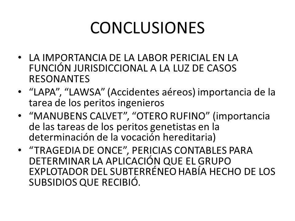 CONCLUSIONES LA IMPORTANCIA DE LA LABOR PERICIAL EN LA FUNCIÓN JURISDICCIONAL A LA LUZ DE CASOS RESONANTES.