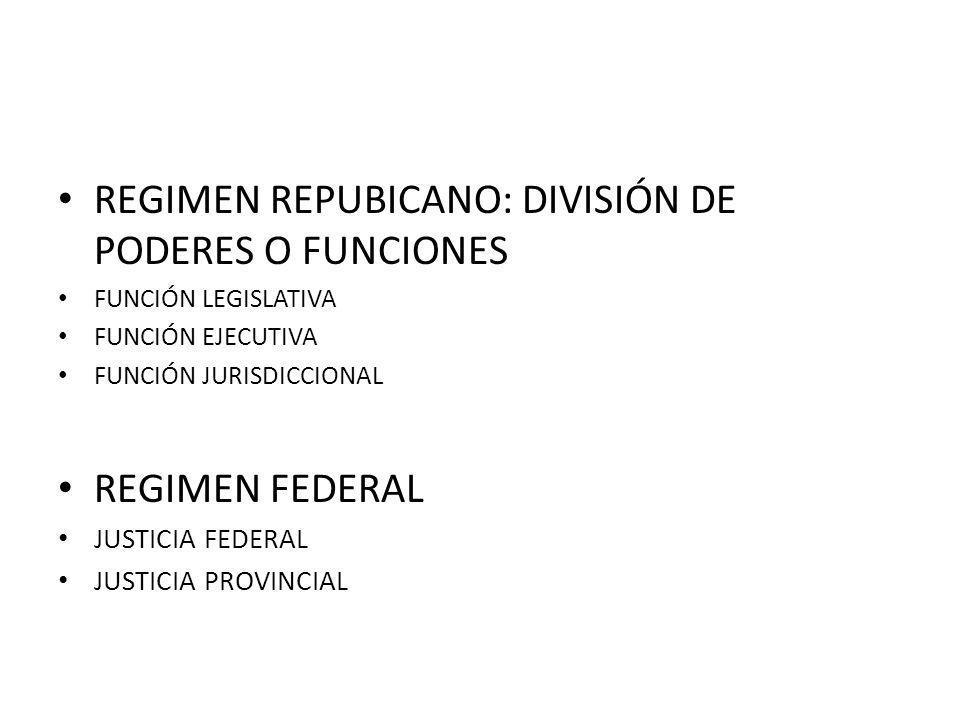 REGIMEN REPUBICANO: DIVISIÓN DE PODERES O FUNCIONES