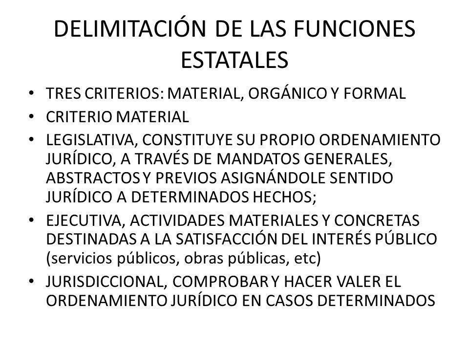 DELIMITACIÓN DE LAS FUNCIONES ESTATALES