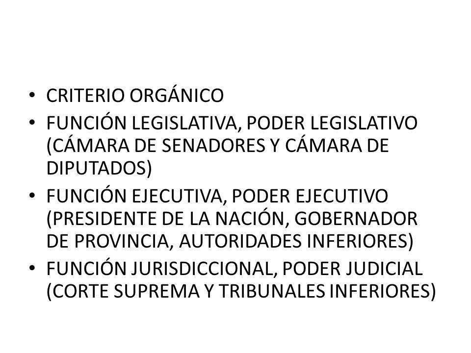 CRITERIO ORGÁNICO FUNCIÓN LEGISLATIVA, PODER LEGISLATIVO (CÁMARA DE SENADORES Y CÁMARA DE DIPUTADOS)