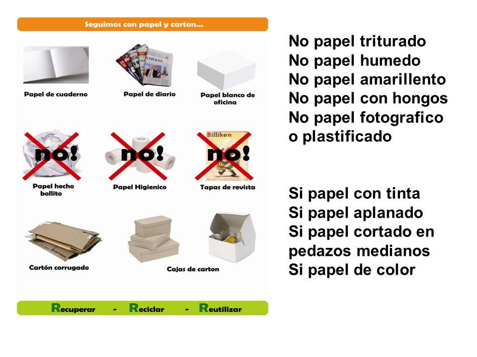 No papel triturado No papel humedo No papel amarillento No papel con hongos No papel fotografico o plastificado