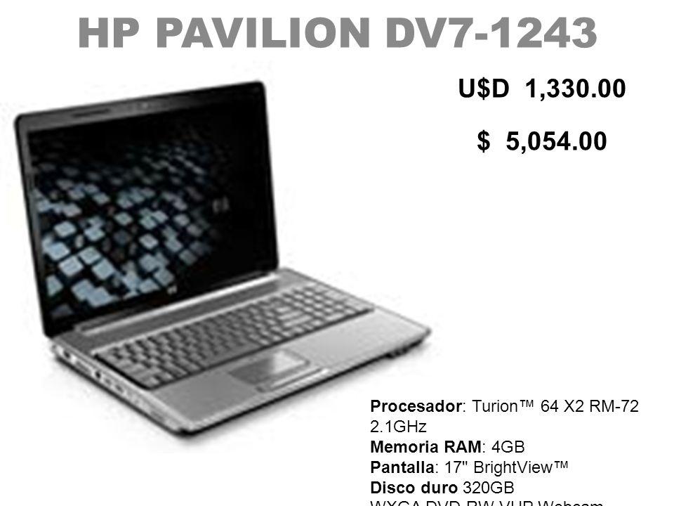 HP PAVILION DV7-1243 U$D 1,330.00. $ 5,054.00.