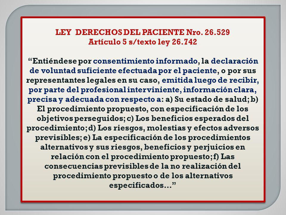 LEY DERECHOS DEL PACIENTE Nro. 26.529