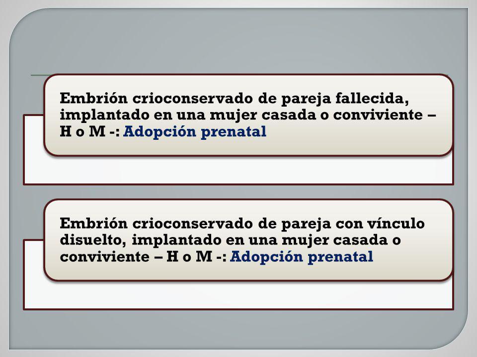 Embrión crioconservado de pareja fallecida, implantado en una mujer casada o conviviente – H o M -: Adopción prenatal