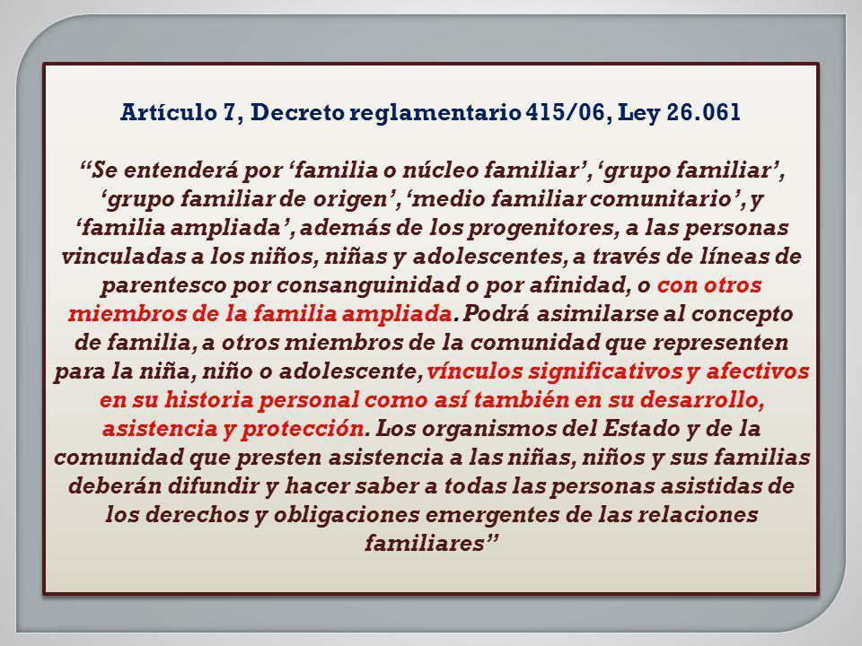 Artículo 7, Decreto reglamentario 415/06, Ley 26.061