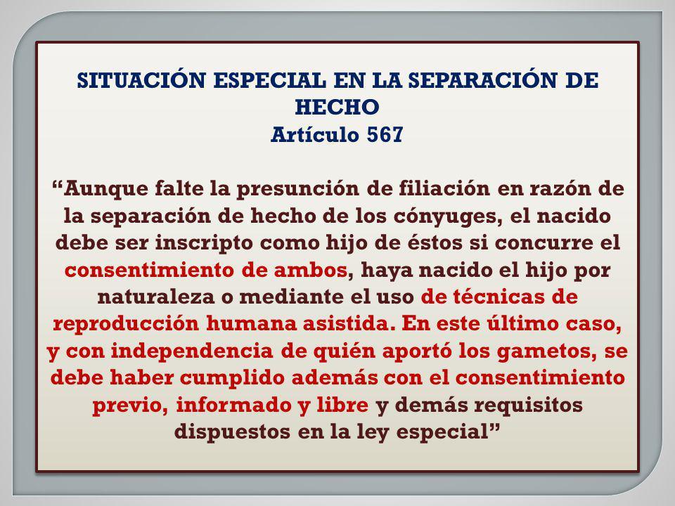SITUACIÓN ESPECIAL EN LA SEPARACIÓN DE HECHO