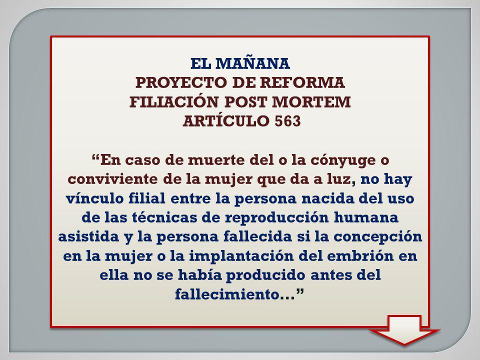EL MAÑANA PROYECTO DE REFORMA. FILIACIÓN POST MORTEM. ARTÍCULO 563.