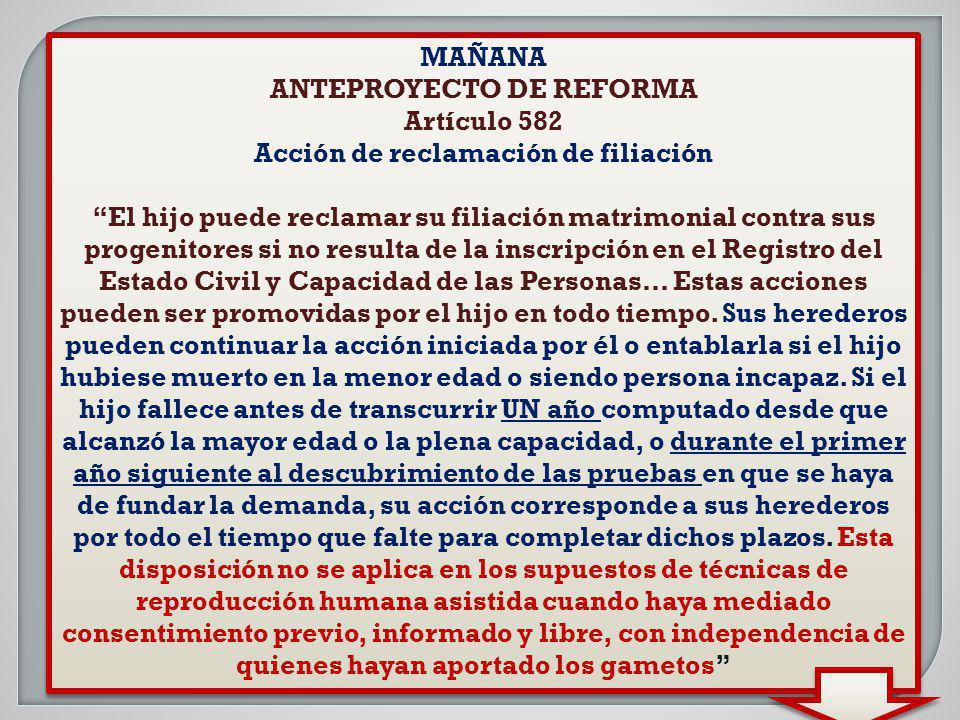 ANTEPROYECTO DE REFORMA Acción de reclamación de filiación