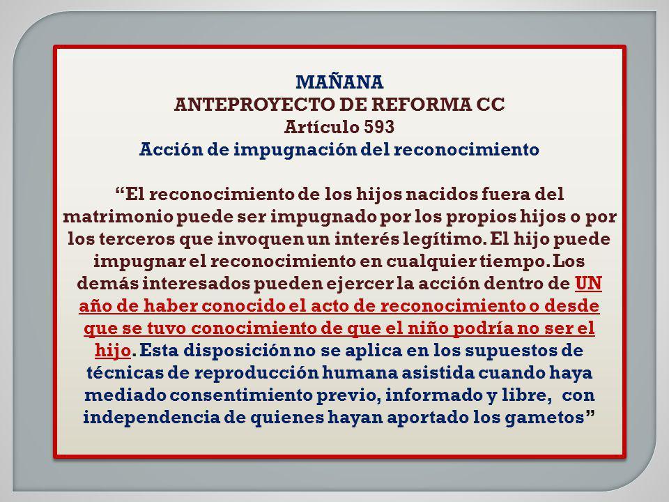 ANTEPROYECTO DE REFORMA CC Acción de impugnación del reconocimiento