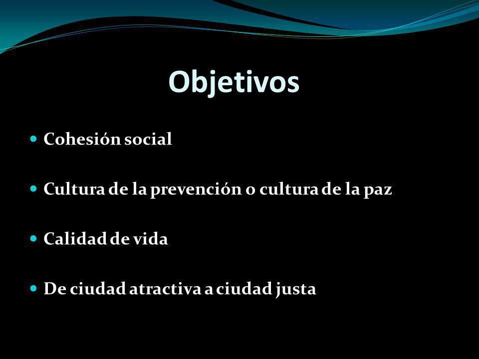 Objetivos Cohesión social Cultura de la prevención o cultura de la paz