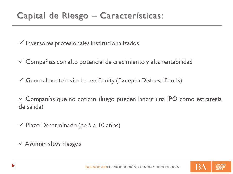 Capital de Riesgo – Características: