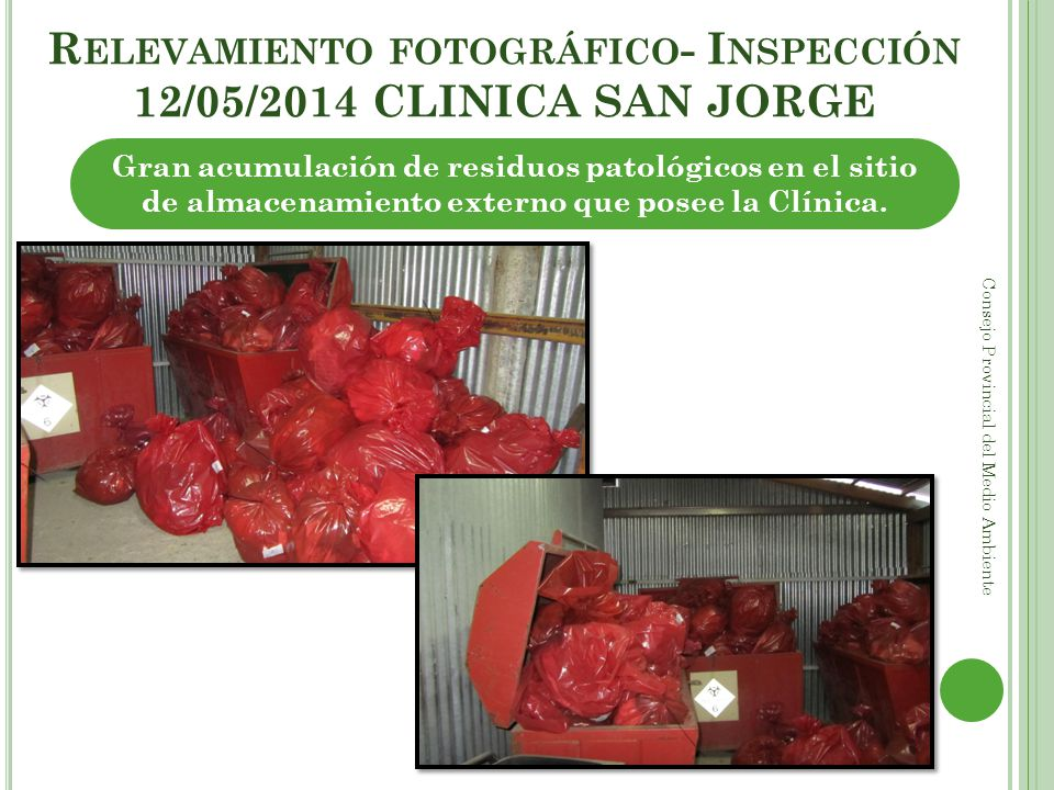 Relevamiento fotográfico- Inspección 12/05/2014 CLINICA SAN JORGE