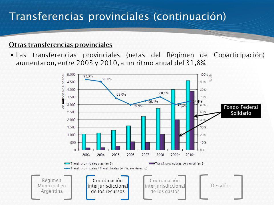 Transferencias provinciales (continuación)