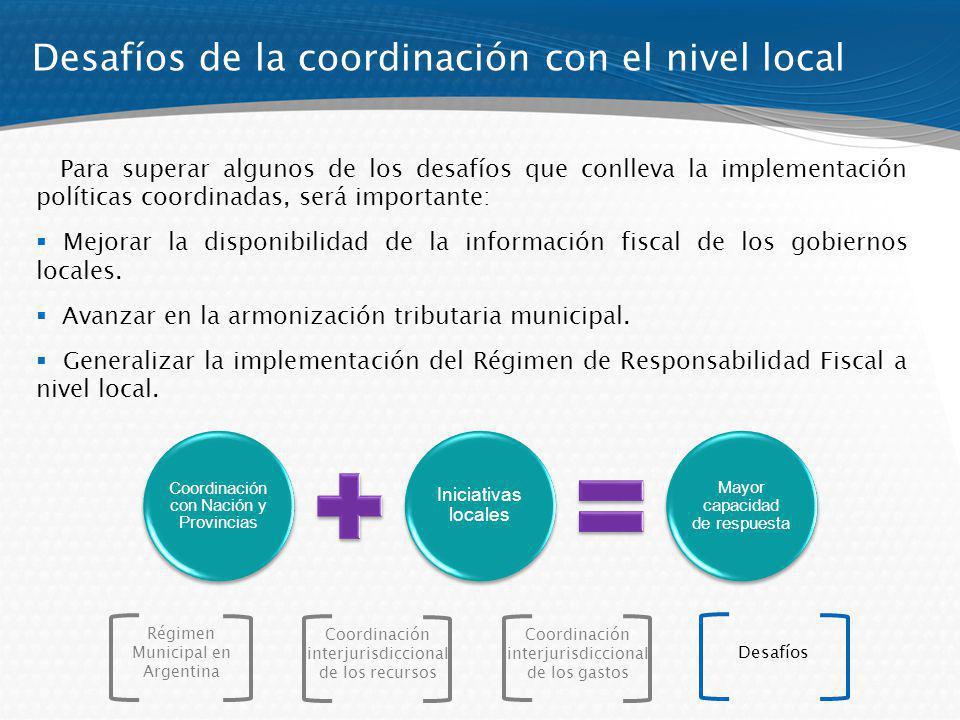 Desafíos de la coordinación con el nivel local