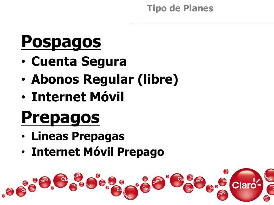 Pospagos Prepagos Cuenta Segura Abonos Regular (libre) Internet Móvil