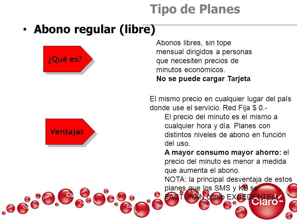 Tipo de Planes Abono regular (libre) ¿Qué es Ventajas
