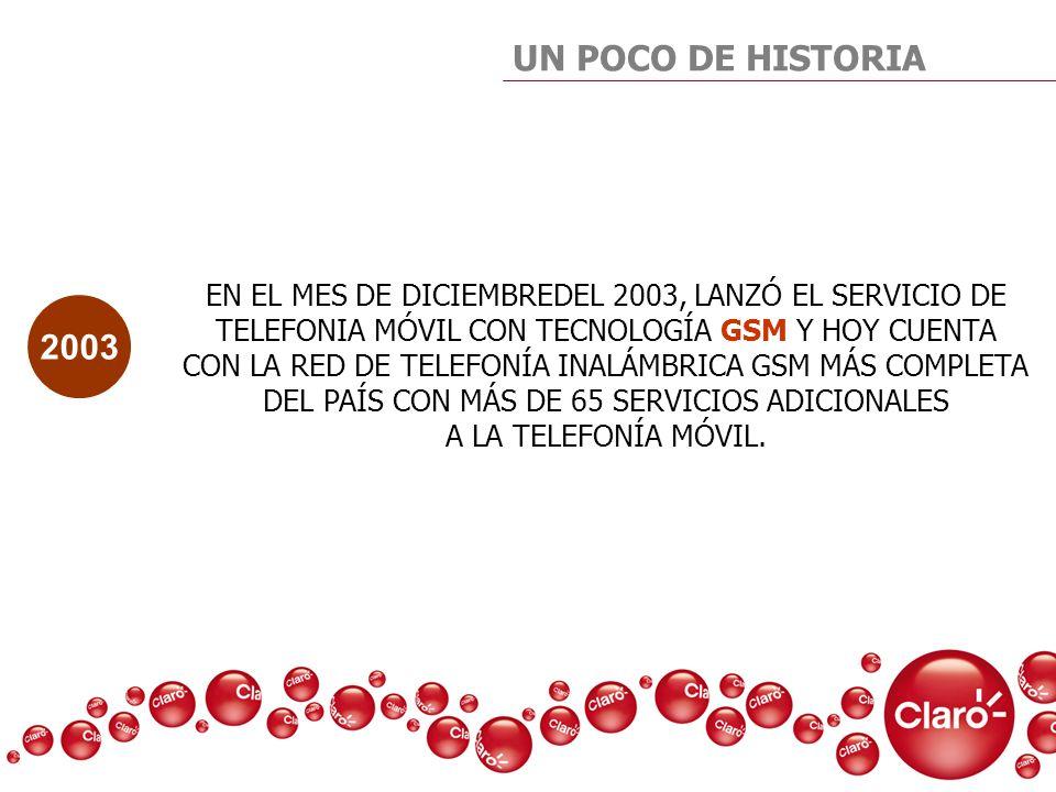 UN POCO DE HISTORIAEN EL MES DE DICIEMBREDEL 2003, LANZÓ EL SERVICIO DE. TELEFONIA MÓVIL CON TECNOLOGÍA GSM Y HOY CUENTA.