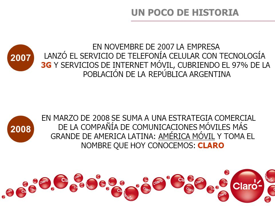 UN POCO DE HISTORIA 2007 2008 EN NOVEMBRE DE 2007 LA EMPRESA
