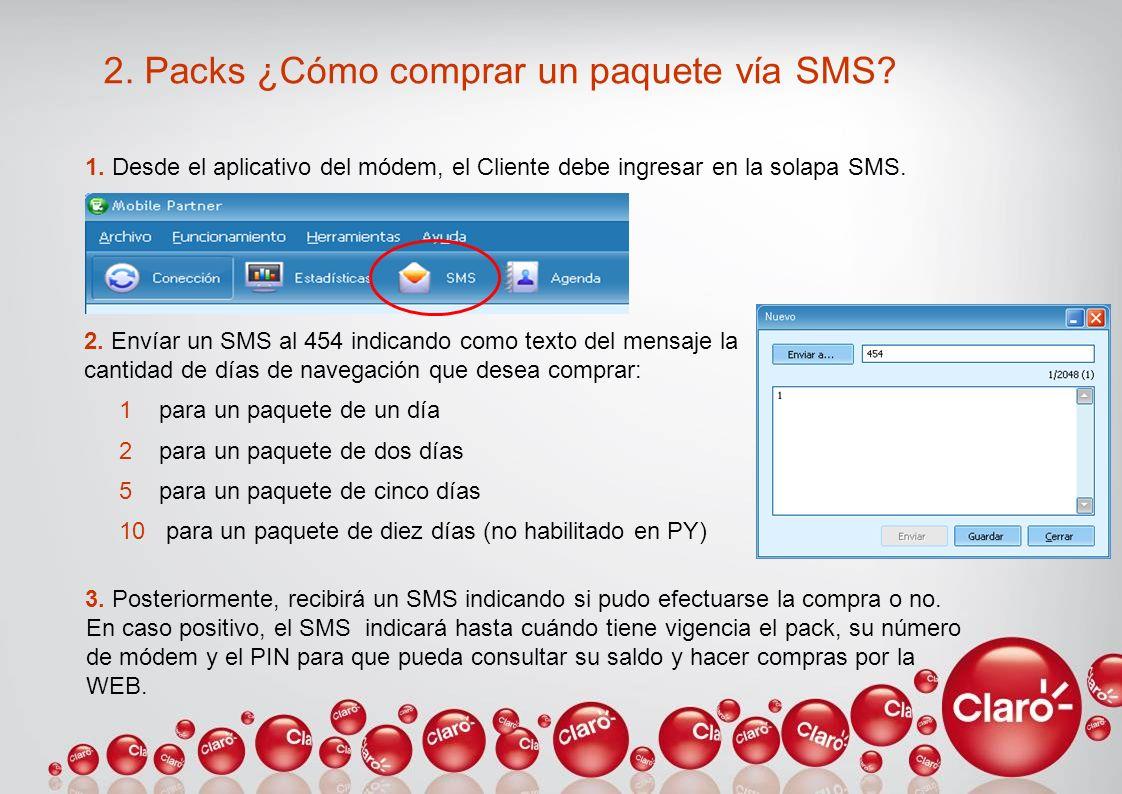 2. Packs ¿Cómo comprar un paquete vía SMS