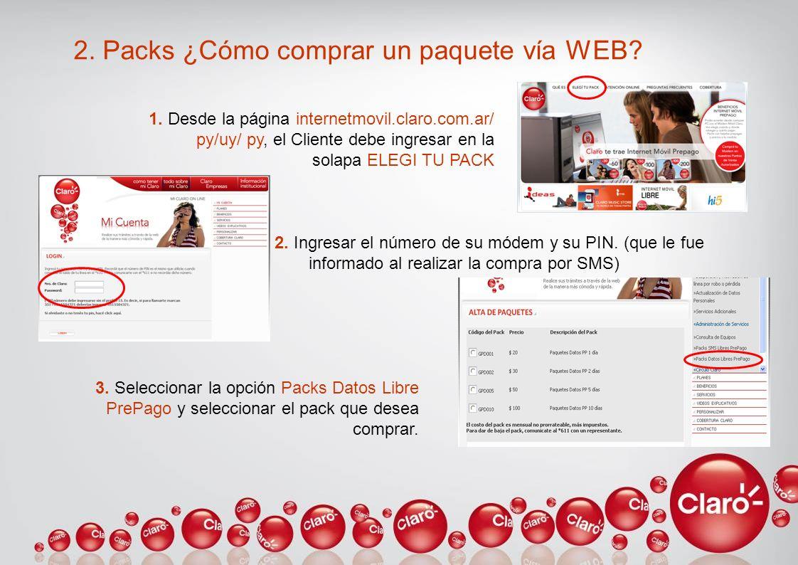 2. Packs ¿Cómo comprar un paquete vía WEB