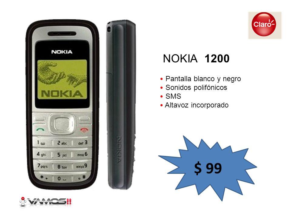 $ 99 NOKIA 1200 Pantalla blanco y negro Sonidos polifónicos SMS
