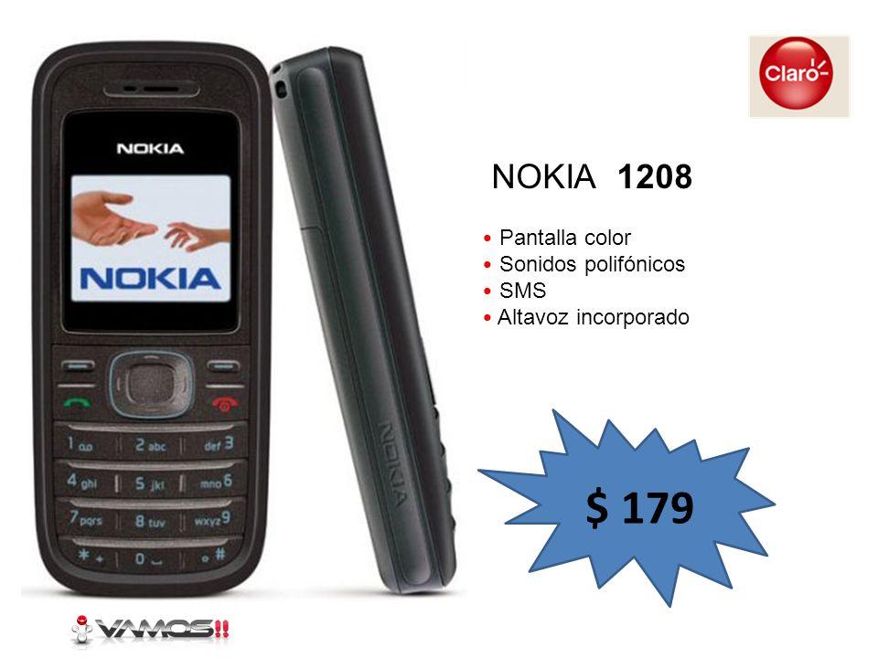 $ 179 NOKIA 1208 Pantalla color Sonidos polifónicos SMS