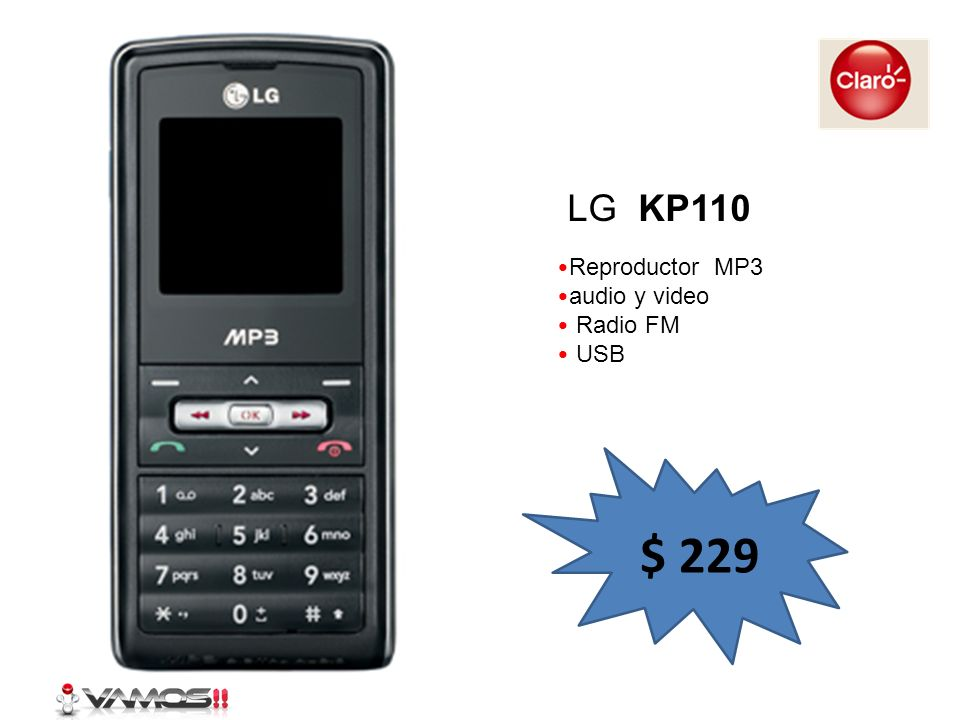 LG KP110 Reproductor MP3 audio y video Radio FM USB $ 229