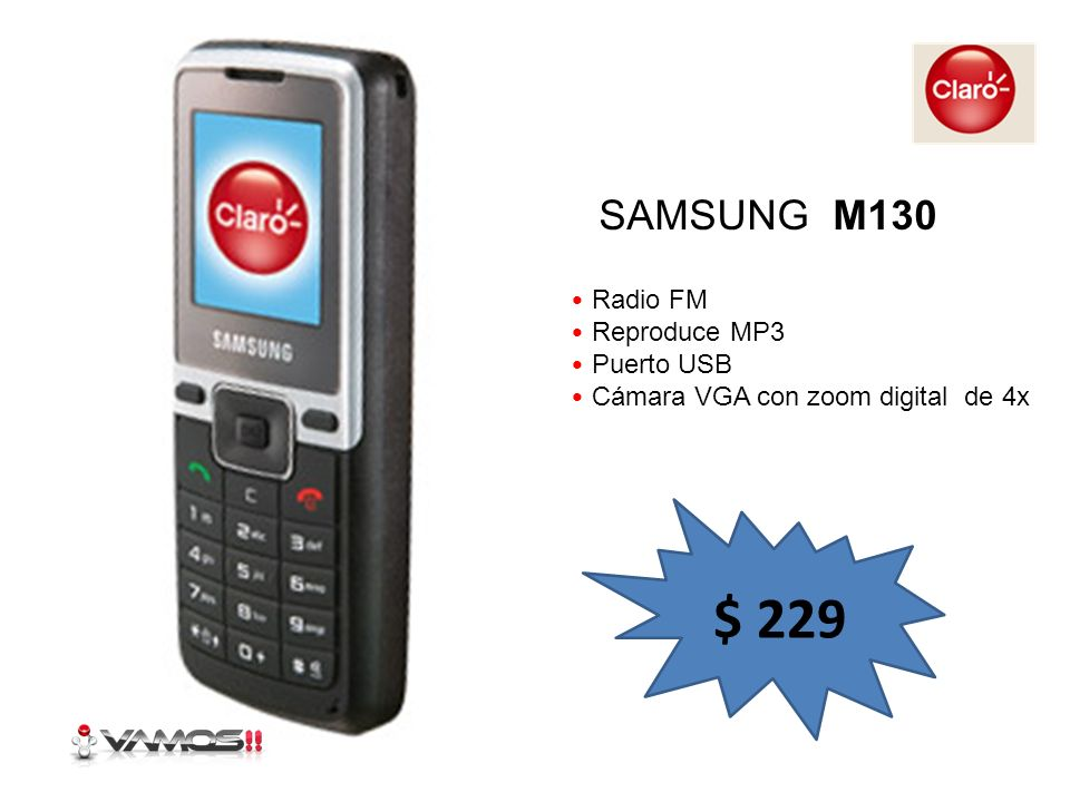 $ 229 SAMSUNG M130 Radio FM Reproduce MP3 Puerto USB