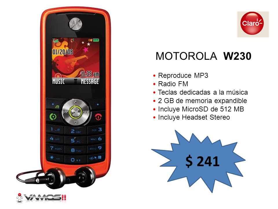 $ 241 MOTOROLA W230 Reproduce MP3 Radio FM