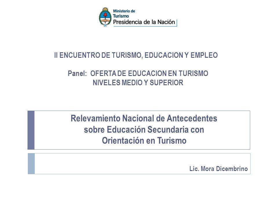 Panel: OFERTA DE EDUCACION EN TURISMO NIVELES MEDIO Y SUPERIOR