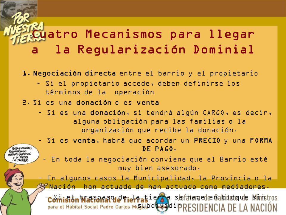 Cuatro Mecanismos para llegar a la Regularización Dominial