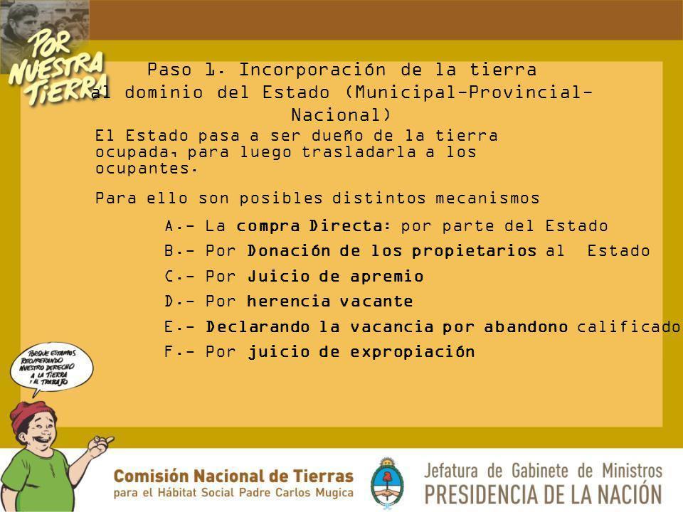 Paso 1. Incorporación de la tierra al dominio del Estado (Municipal-Provincial-Nacional)