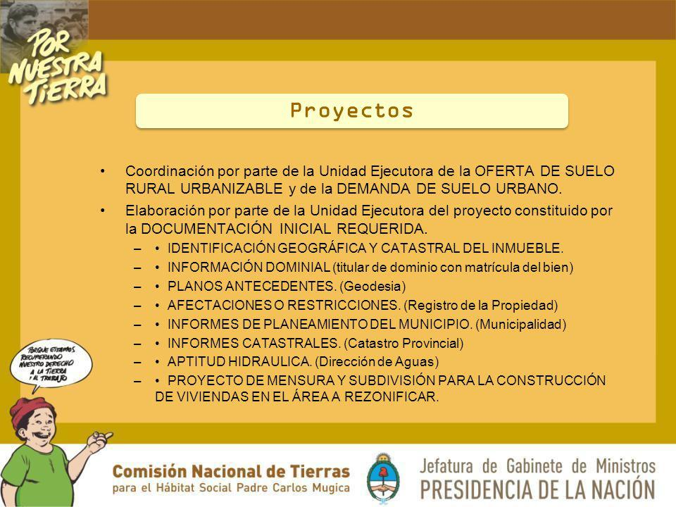 Proyectos Coordinación por parte de la Unidad Ejecutora de la OFERTA DE SUELO RURAL URBANIZABLE y de la DEMANDA DE SUELO URBANO.