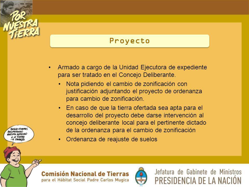 Proyecto Armado a cargo de la Unidad Ejecutora de expediente para ser tratado en el Concejo Deliberante.