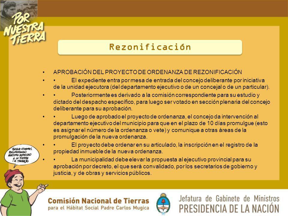 Rezonificación APROBACIÓN DEL PROYECTO DE ORDENANZA DE REZONIFICACIÓN