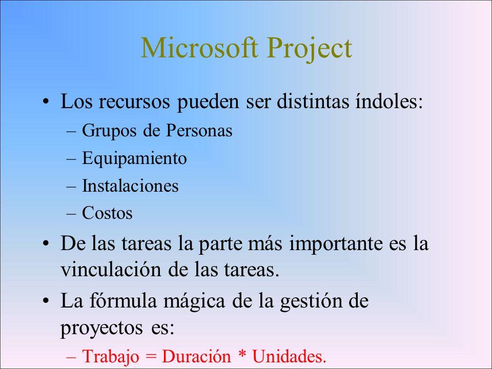 Microsoft Project Los recursos pueden ser distintas índoles: