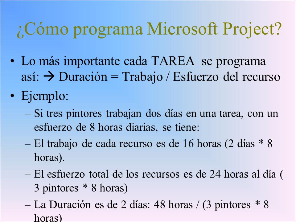 ¿Cómo programa Microsoft Project