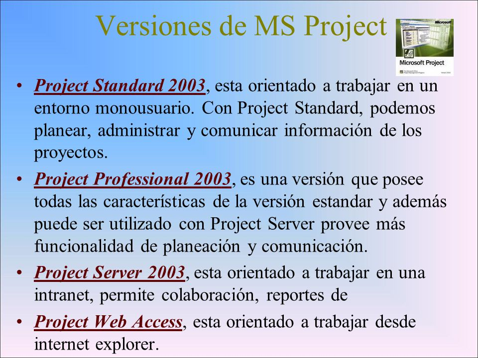 Versiones de MS Project