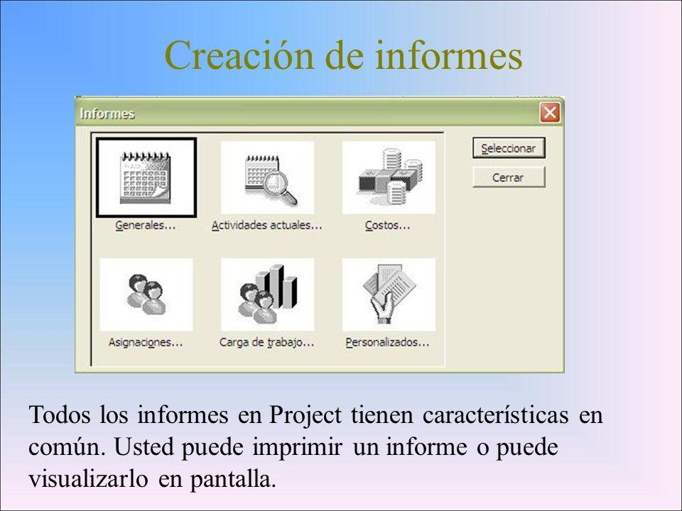 Creación de informes Todos los informes en Project tienen características en común.