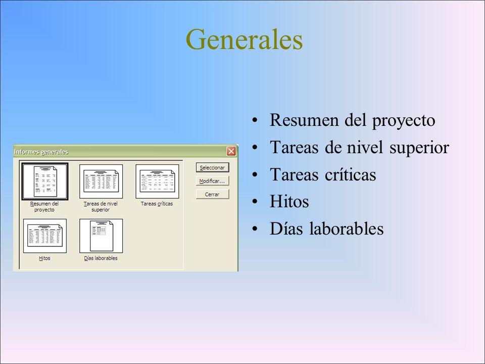 Generales Resumen del proyecto Tareas de nivel superior