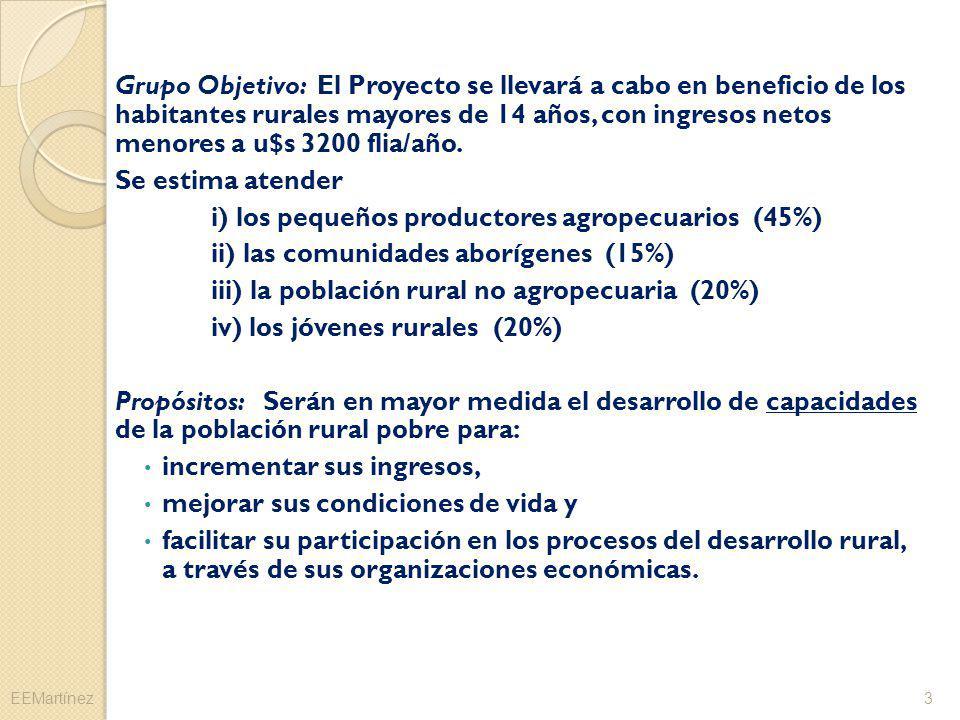 i) los pequeños productores agropecuarios (45%)