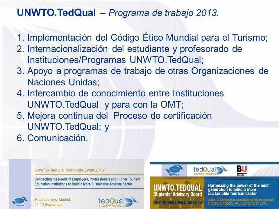 UNWTO.TedQual – Programa de trabajo 2013.