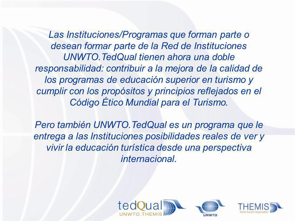 Las Instituciones/Programas que forman parte o desean formar parte de la Red de Instituciones UNWTO.TedQual tienen ahora una doble responsabilidad: contribuir a la mejora de la calidad de los programas de educación superior en turismo y cumplir con los propósitos y principios reflejados en el Código Ético Mundial para el Turismo.