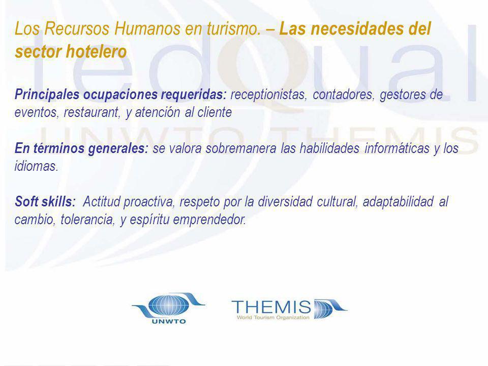 Los Recursos Humanos en turismo. – Las necesidades del sector hotelero